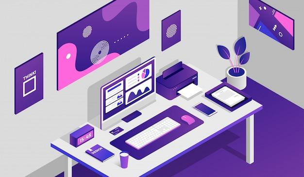 Sala de espaço de trabalho com elementos isométricos Vetor Premium
