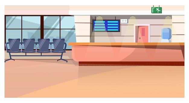 Sala de espera com contador na ilustração do aeroporto Vetor grátis