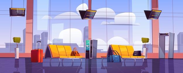 Sala de espera do aeroporto, interior do terminal vazio com cadeiras, bagagem, scanner de segurança e display de programação. Vetor grátis