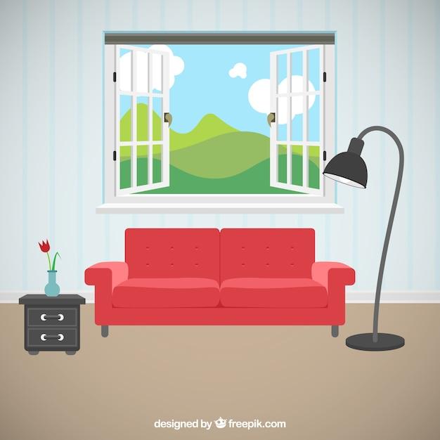Sala de estar com belas vistas Vetor Premium