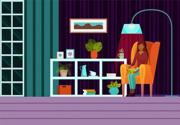 Sala de estar com móveis, janela, poltrona com mulher sentada e cortinas. vetor plana dos desenhos animados Vetor Premium