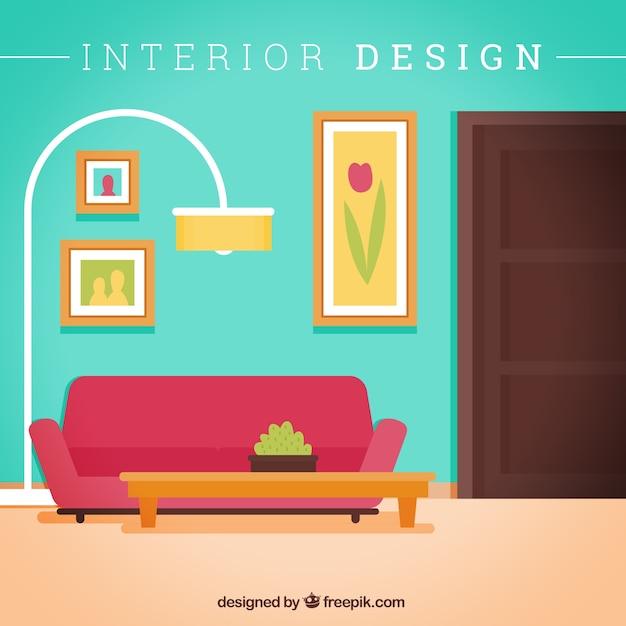 Sala de estar com sof e l mpada baixar vetores gr tis for Sala de estar dibujo