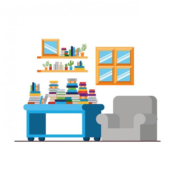 Sala de estar com sofá e pilha de livros Vetor Premium