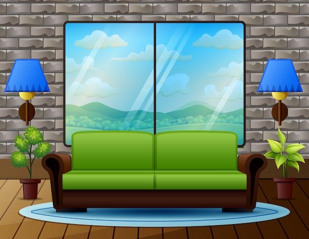Sala de estar com sofá e vista da natureza da janela Vetor Premium