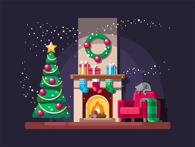 Sala de estar de natal com árvore, presentes e lareira. Vetor Premium