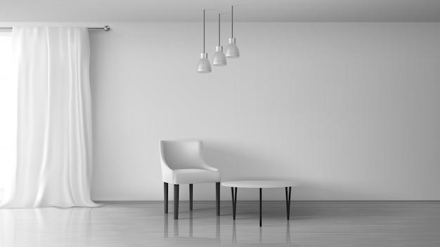 Sala de estar em casa, apartamento, salão de casa realista vector ensolarado interior. cadeira e mesa de café perto de parede branca vazia, lustroso laminado no chão, cortina branca longa na ilustração de haste de janela Vetor grátis