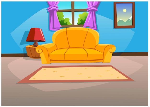 Sala de estar em casa com cores vivas durante o dia. Vetor Premium