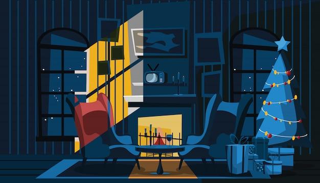 Sala de estar em ilustração vetorial de dia de natal Vetor Premium