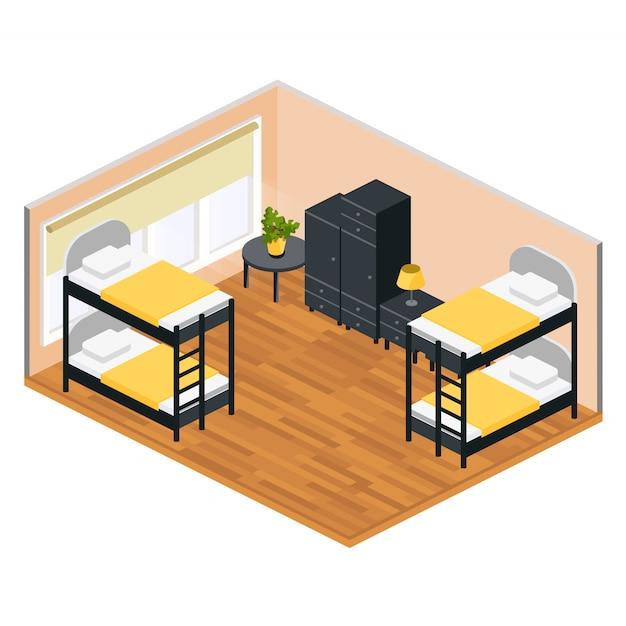 Sala de estar em um albergue em isométrico Vetor Premium