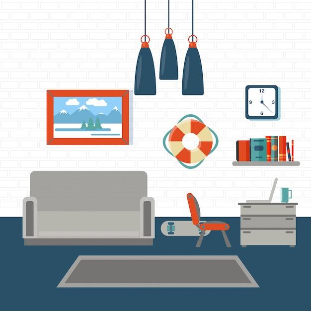 Sala de estar interior moderna Vetor Premium