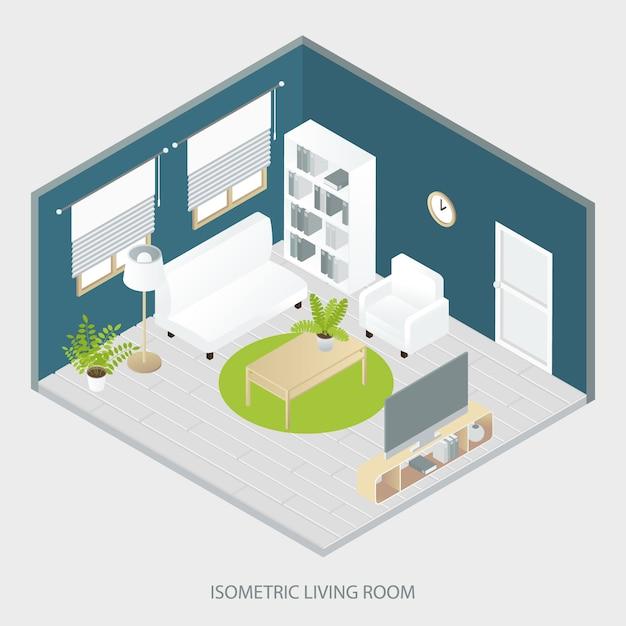 Sala de estar isométrica Vetor grátis