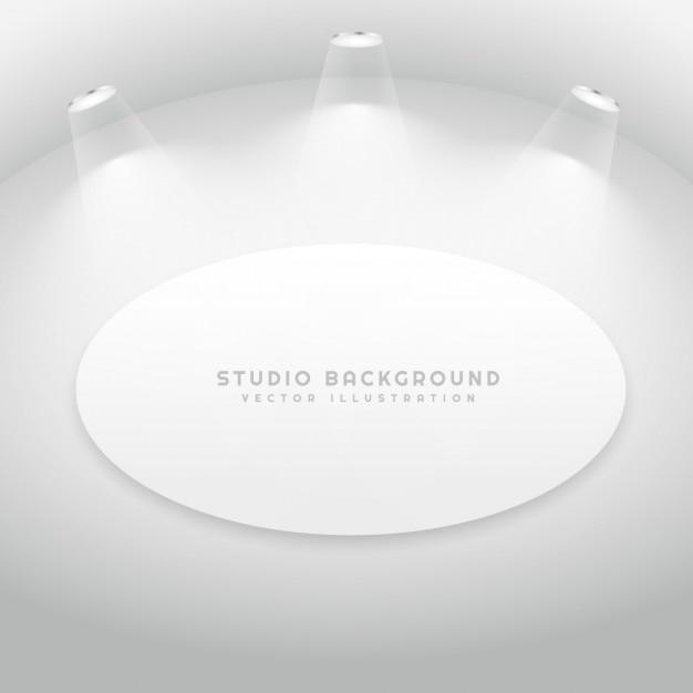Sala de estúdio com frame de retrato oval Vetor grátis