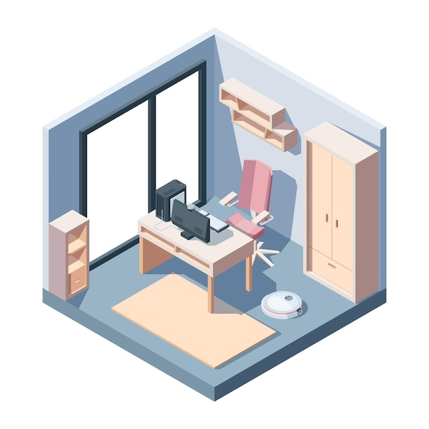 Sala de estudo em vista isométrica Vetor Premium