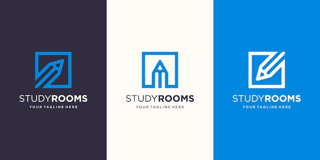 Sala de estudo, lápis combinado com estilo de arte de linha quadrada modelos de designs de logotipo Vetor Premium