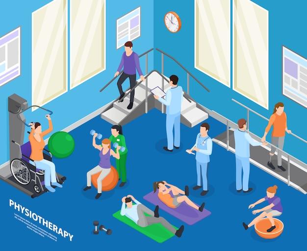 Sala de exercícios de clínica clínica de reabilitação fisioterapia acelerando atividades físicas de recuperação com ilustração de composição isométrica de sessão de terapeuta Vetor grátis