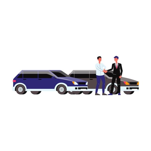 Sala de exposições com carros, revendedor e cliente. centro de revendedores com veículos, venda e compra, dois homens fizeram um acordo e apertaram as mãos. ilustração em vetor isoladas plana. Vetor Premium