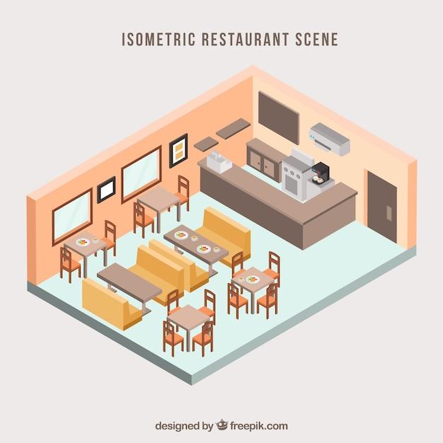 Sala de jantar clássica com perspectiva isométrica Vetor grátis