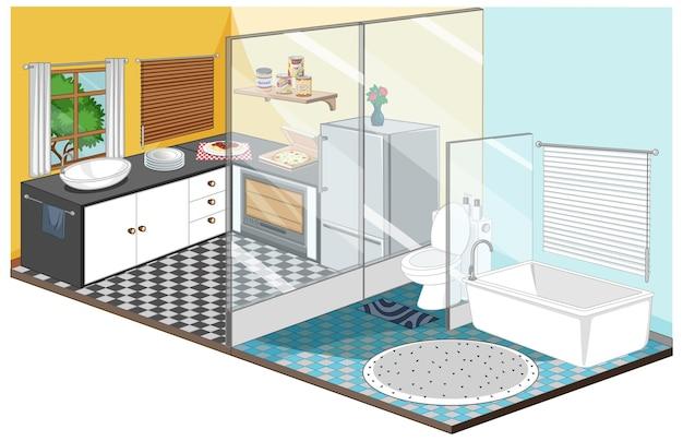 Sala de jantar com banheiro interno Vetor grátis