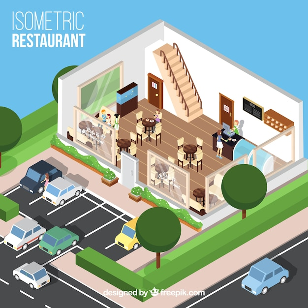 Sala de jantar e estacionamento do restaurante isométrico Vetor grátis