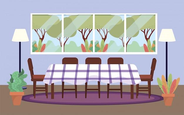 Sala de mergulho com mesa e decoração de plantas Vetor grátis