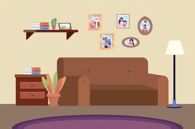 Sala de mergulho com sofá e fotos da família Vetor grátis