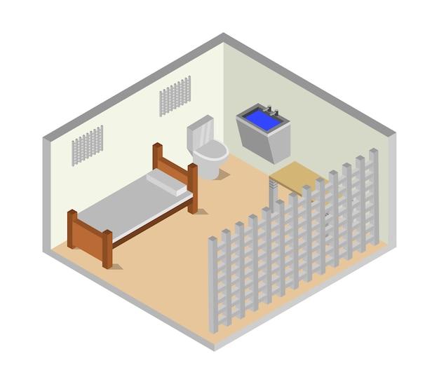 Sala de prisão isométrica Vetor grátis