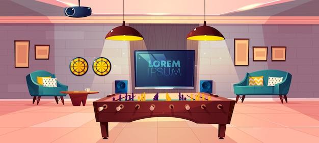 Sala de recreação confortável para lazer em família casa no porão dos desenhos animados vetor com poltrona e sofá suave Vetor grátis