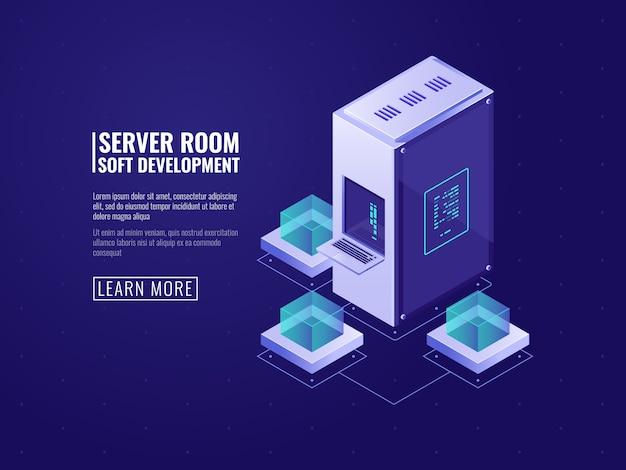 Sala de servidores e conceito de armazenamento em nuvem de dados, datacenter isométrico com conexão de banco de dados Vetor grátis