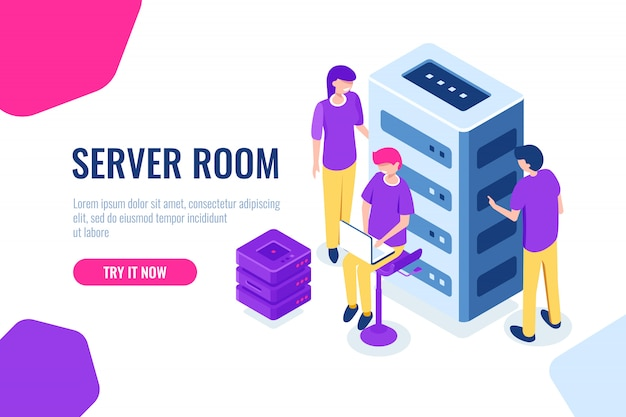 Sala de servidores isométrica, datacenter e banco de dados, trabalhando em um projeto comum, trabalho em equipe e colaboração Vetor grátis