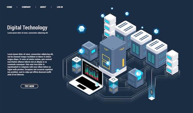 Sala de servidores isométrica e conceito de processamento de grande volume de dados, centro de dados e ícone de base de dados Vetor Premium