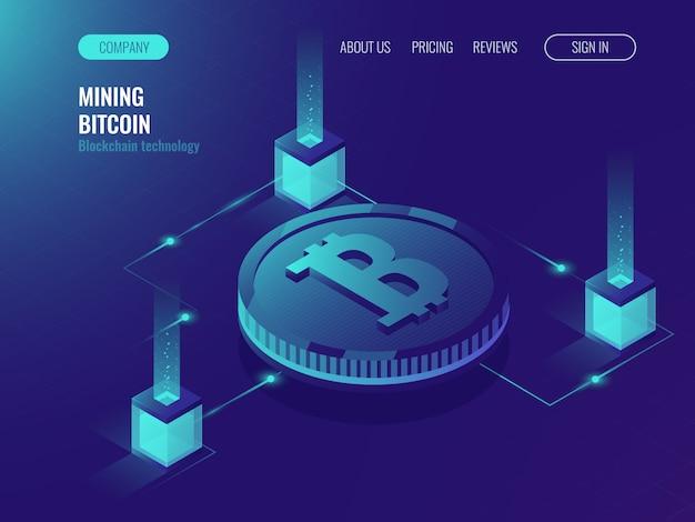 Sala de servidores para mineração bitcoin criptografia moeda, página web de tecnologia de computador Vetor grátis