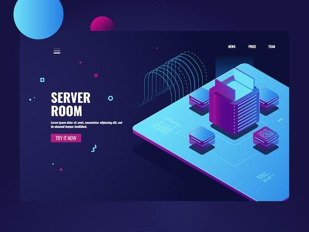 Sala de servidores, processamento de big data, processo de mineração de criptomoeda, datacenter Vetor grátis