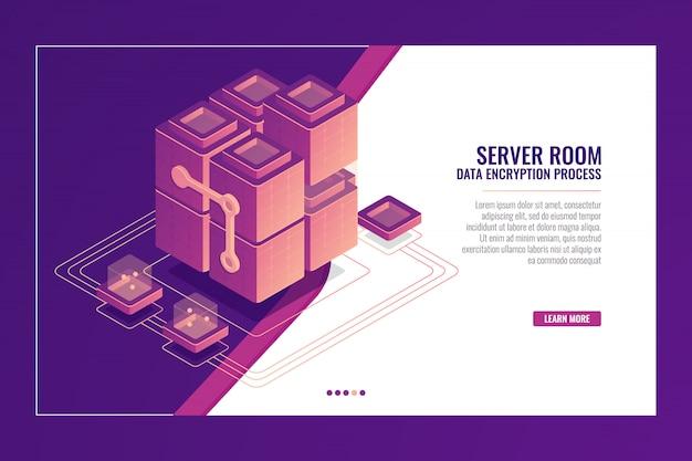 Sala de servidores, transmissão de dados, datacenter e banner de banco de dados, conceito de desenvolvimento de software, constr Vetor grátis