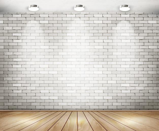 Sala de tijolos brancos com holofotes. Vetor Premium