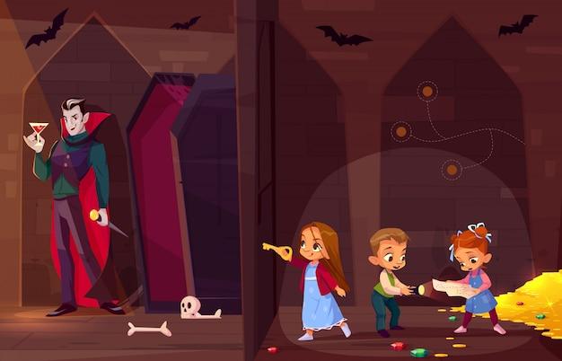 Sala do escape da procura para o conceito dos desenhos animados do entretenimento das crianças. Vetor grátis