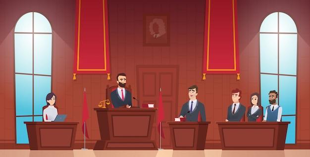 Sala do tribunal. juiz no tribunal personagens do júri de polícia dentro de evidências Vetor Premium