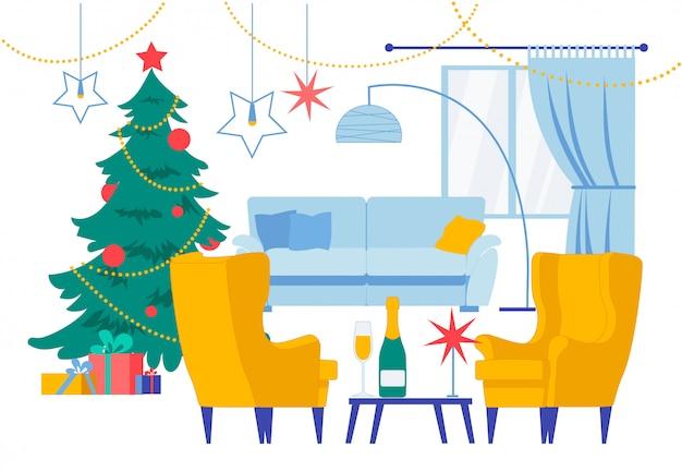Sala estar natal ilustração interior casa Vetor Premium