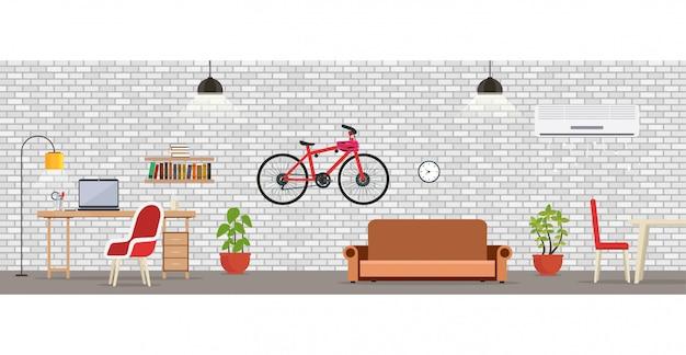Sala interior com a parede de tijolo branca. Vetor Premium