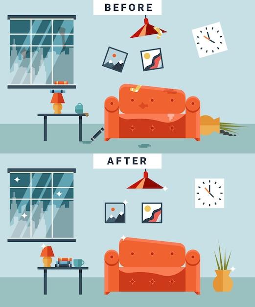 Sala suja e limpa antes e depois da limpeza. lixo e desordem, copo e imagem, apartamento desorganizado dos desenhos animados. Vetor grátis