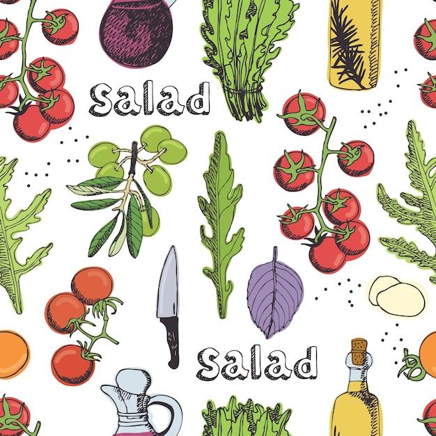 Salada de fundo sem costura Vetor grátis
