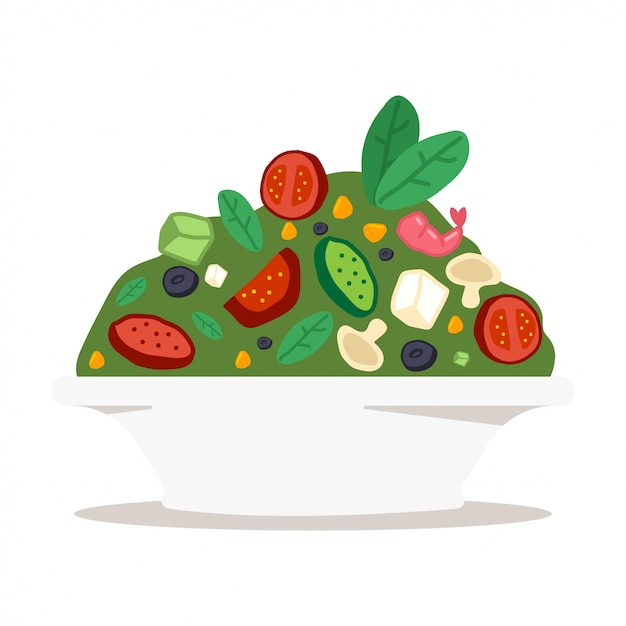 Saladeira com legumes, queijo e camarão Vetor Premium