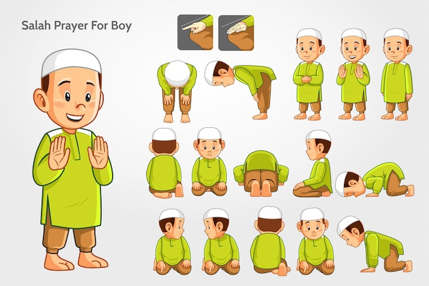 Salah prayer for boys Vetor Premium