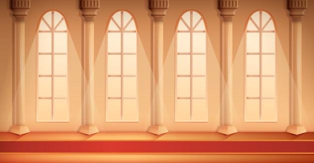 Salão bonito dos desenhos animados de um castelo com um tapete, ilustração vetorial Vetor Premium