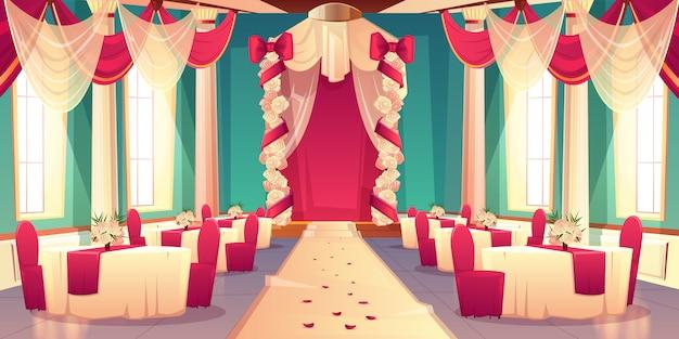 Salão de banquetes, salão de festas no castelo pronto para cerimônia de casamento interior de vetor de desenhos animados flor decorada Vetor grátis