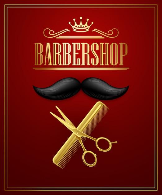 Salão de barbearia Vetor Premium