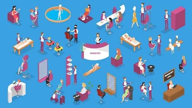 Salão de beleza com pessoas sobre procedimentos de beleza. confecção de corte de cabelo, moda manicure e pedicure, spa, cosmetologia e outros. estilo de vida glamour. ilustração isométrica Vetor Premium