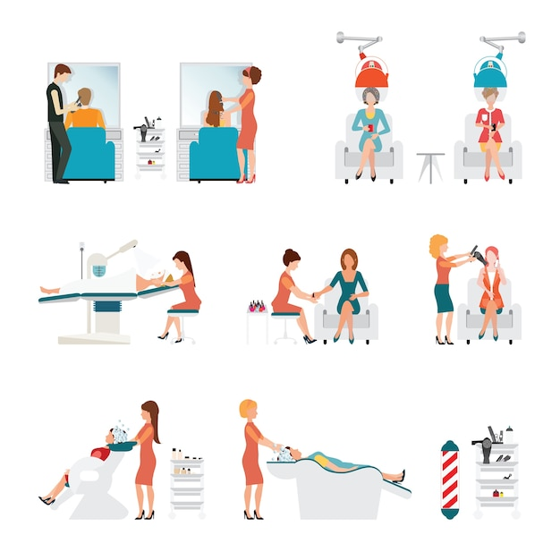 Salão de beleza de cabelo com cabeleireiro e cliente. Vetor Premium