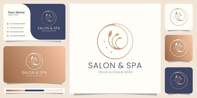 Salão de beleza feminino e logotipo de forma de círculo de arte de linha de spa com folha minimalista. modelo de design de logotipo, ícone e cartão de visita. vetor premium Vetor Premium