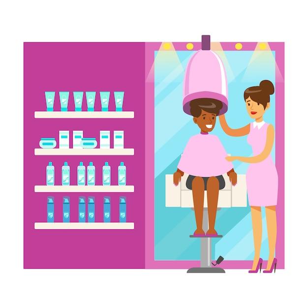 Salão de cabeleireiro ou barbearia interior. personagem de desenho animado colorido ilustração Vetor Premium