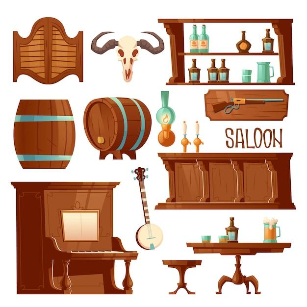 Salão de cowboy, conjunto de móveis de bar retrô ocidental Vetor grátis